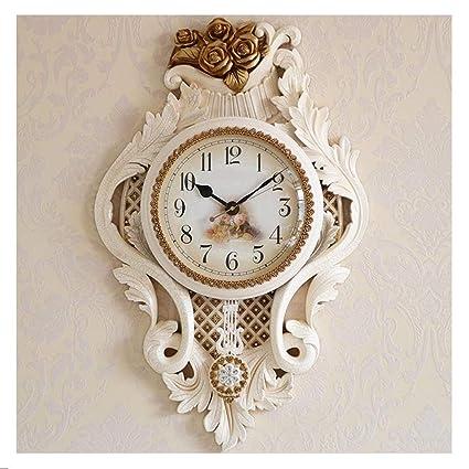 Love Home Stille Wanduhr Wohnzimmer Schlafzimmer Wanduhr Kinderzimmer  Wandbehang Dekorative Uhr Kein Ticking Weiße Uhr Pendel Mit Uhr (Farbe : B)