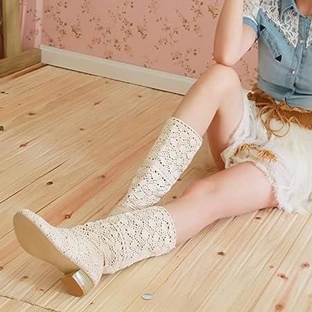 LANSKIRT_Zapatos de Mujer de Vestir Elegantes Botas de Rodilla de Punto de Diseñador de Moda de Ocio Larga Zapatos Recortes Sandalias Mujer Tacon Chanclas Zuecos Elegante