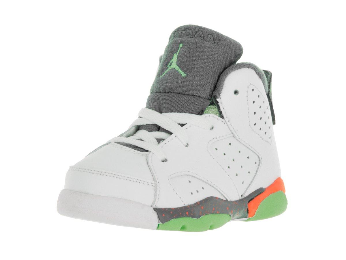 Nike Jordan Toddlers Jordan 6 Retro BT White/Ghst Green/Hst/Brght Mng Basketball Shoe 8 Infants US