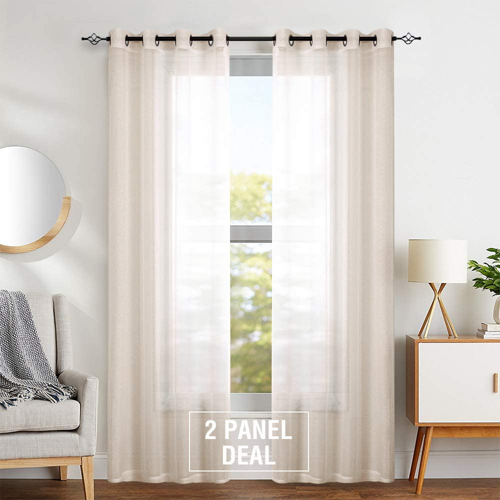 Sheer Curtains for Bedroom Living Room 95 inch Window Curtain Set Taupe Grommet Light Weight Voile Drapes One Pair