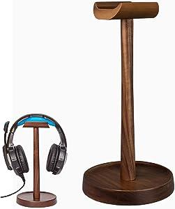 Artinova Wooden Headset Holder Headphone Stand Hanger Walnut Color (poplar wood)
