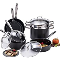 Momscook 11 Piece 3-Layers Nonstick Coating Full Kitchen Cookware Set with Riveted Stainless Steel Handles (Black)
