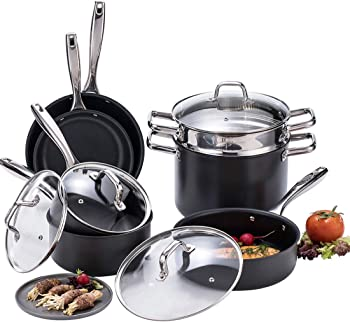 Momscook Hard-Anodized Aluminum Nonstick Cookware Set (11-Piece)