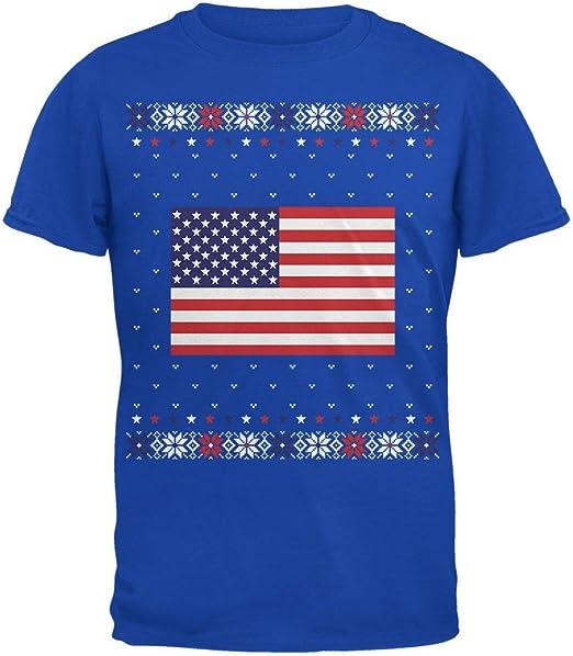 Estados Unidos Bandera Americana Navidad Feo suéter para Hombre Camiseta Real 3 X-LG: Amazon.es: Ropa y accesorios