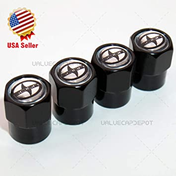2 PCS Quality Black Grenade-Shaped Anodized Metal Replacement Valve Stem Caps