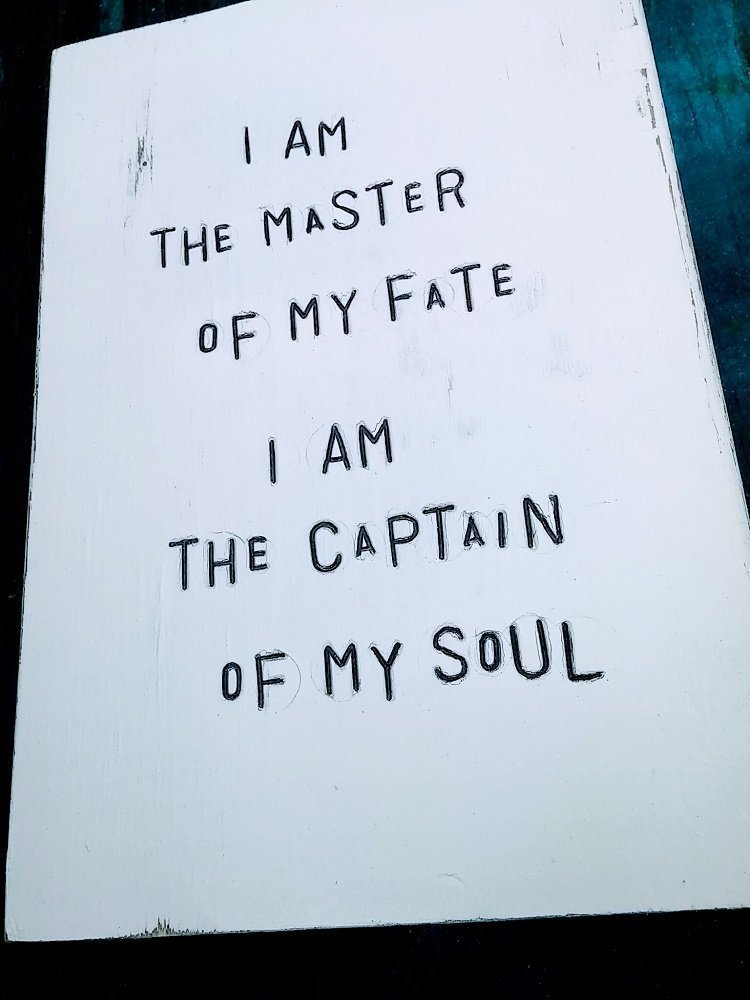 WiLDWoRDS - beautiful words on wood - Henley Invictus poem - I aM THe MaSTeR oF MY FaTe, I aM THe CaPTaiN oF MY SoUL - Solid wood art / art block