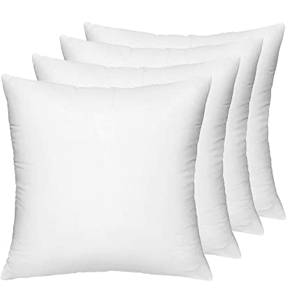 HIPPIH 4 Pack Pillow Insert   18 X 18 Inch Hypoallergenic Decorative Square  Sofa Bed Pillow