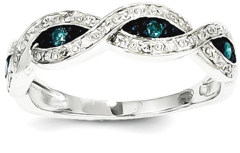 ICE CARATS 14k White Gold Blue Diamond Band Ring Size 7.00 Stone Fine Jewelry Gift For Women Heart