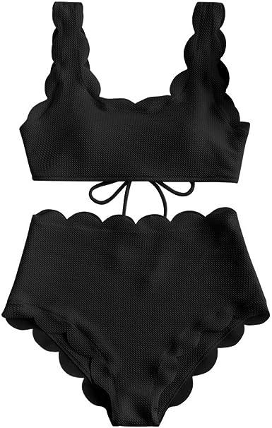 ZAFUL Women Scalloped Textured High Waisted Bikini Set Strappy Padded Lace Up 2 Piece Swimsuit
