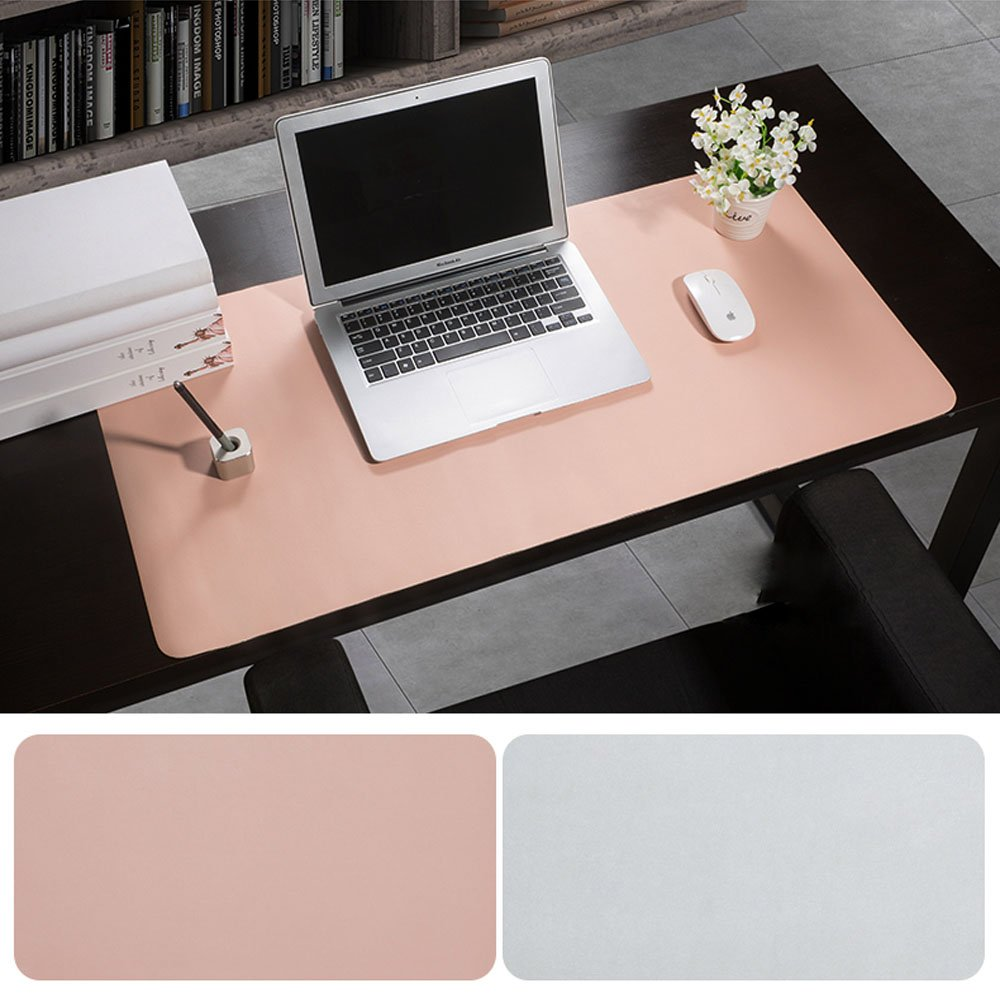 Desk Pad Protecter, Mirstan 31.5'' x 15.8'' PU Leather Large Office Desk Writing Mat Mousepad Waterproof, Dual Sides for Use (Pink&Gray) by Mirstan (Image #2)