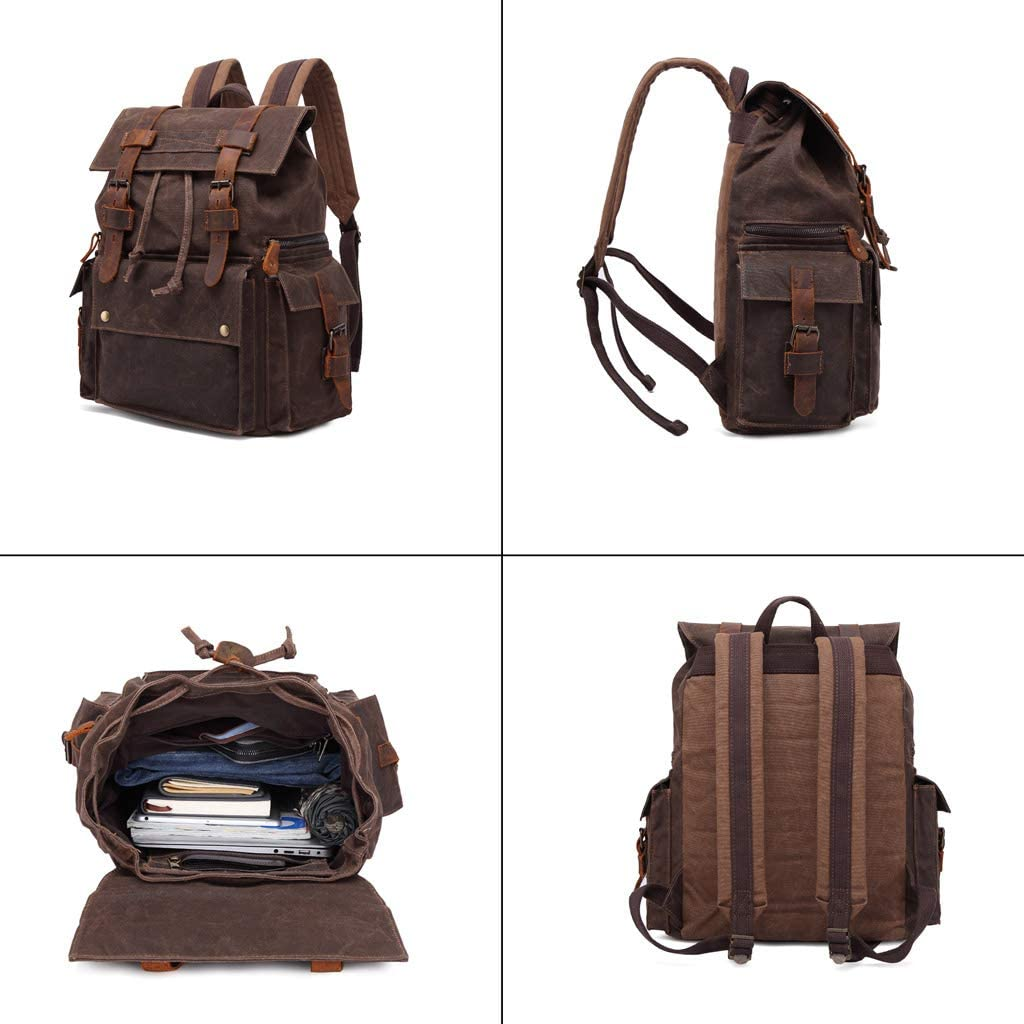 Color : Coffee, Size : 12.9 L x 6.2 W x 16.9 H 15.6 Inch Laptop Backpack Donut Backpack Durable Canvas Business College Travel Daypacks Kmgjc Vintage Laptop Backpack
