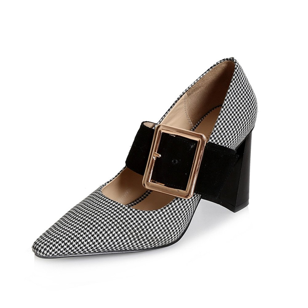 Nine Seven Suede Leather-Women's Pointed Toe-Chunky Heel-Mary Jane Buckle Handmade Plaid Pumps