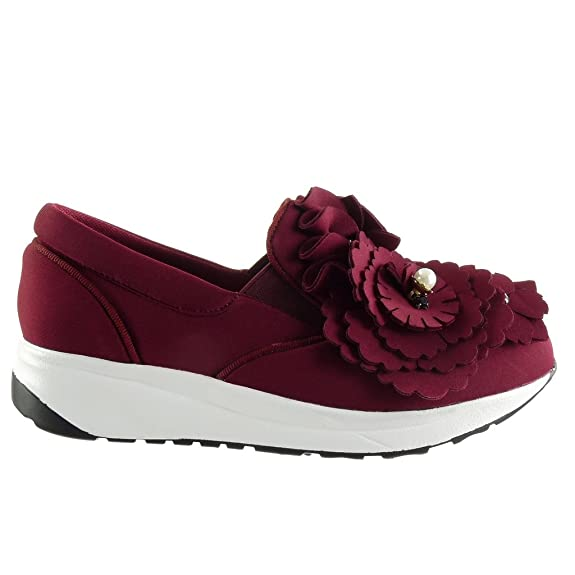 Angkorly Damen Schuhe Sneaker - Slip-On - Plateauschuhe - Blumen - Perle - Strass Keilabsatz 3 cm - Burgunderrot WH849 T 39 yquEdpG