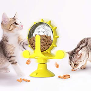 HTIAITH Cat Food Puzzle, Windmill Cat Toy& Turntable Catnip Food Dispenser, Multifunctional Interactive Teasing, Funny Kitten Toys Cat Food Leaking with Strong Suction Cup