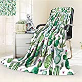 Digital Printing Blanket Green Mexican Texas Plants Spikes Like Art Print White Light Pink and Lime Green Summer Quilt Comforter