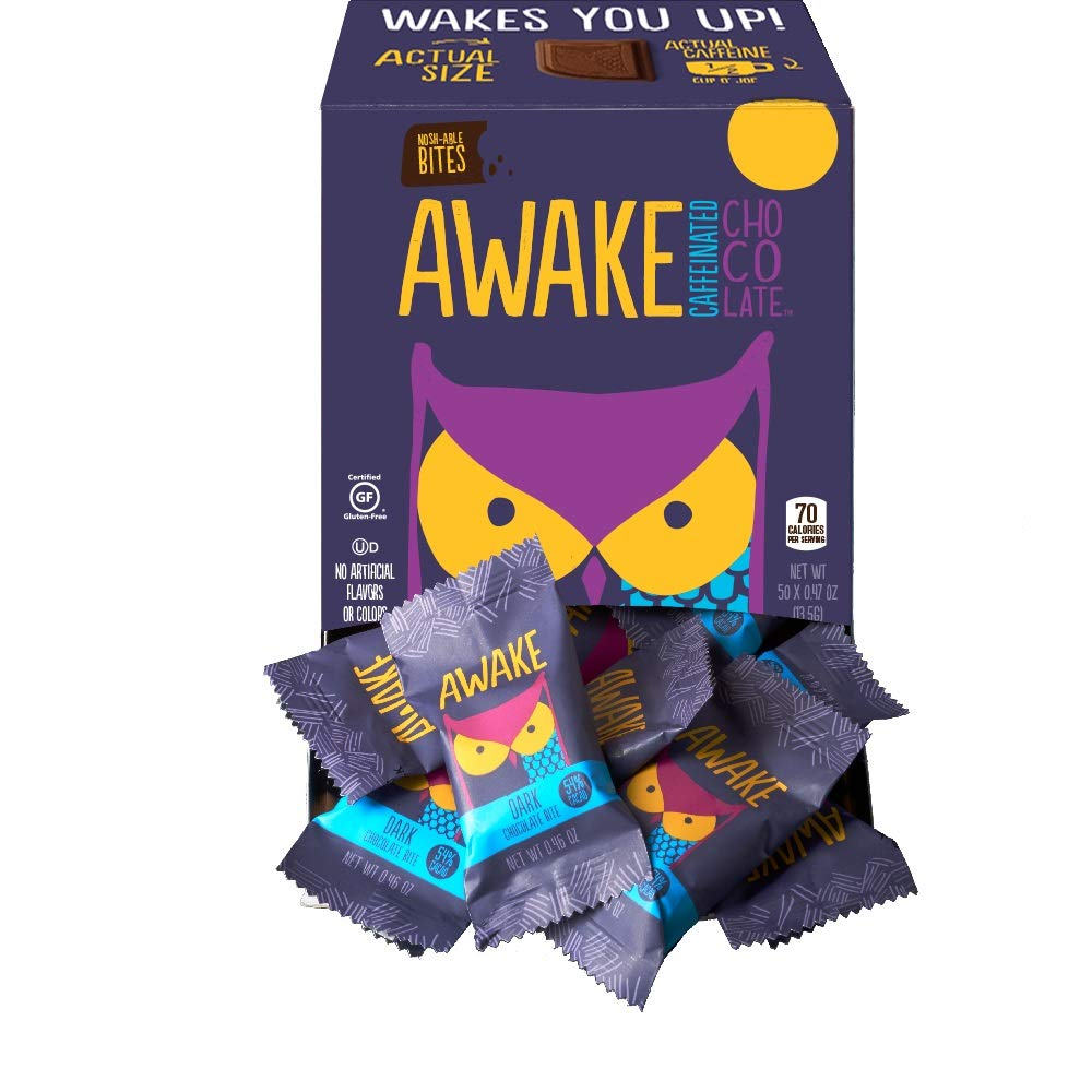 CDM product Awake Caffeinated Chocolate Energy Bites, Dark Chocolate, 50 Count big image