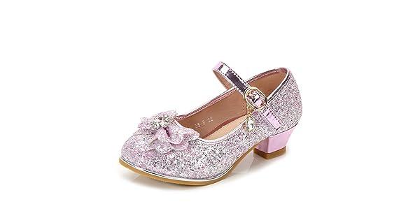 IINFINE Girls Glitter Mary Jane Side Flowers Ballet Flat Shoes