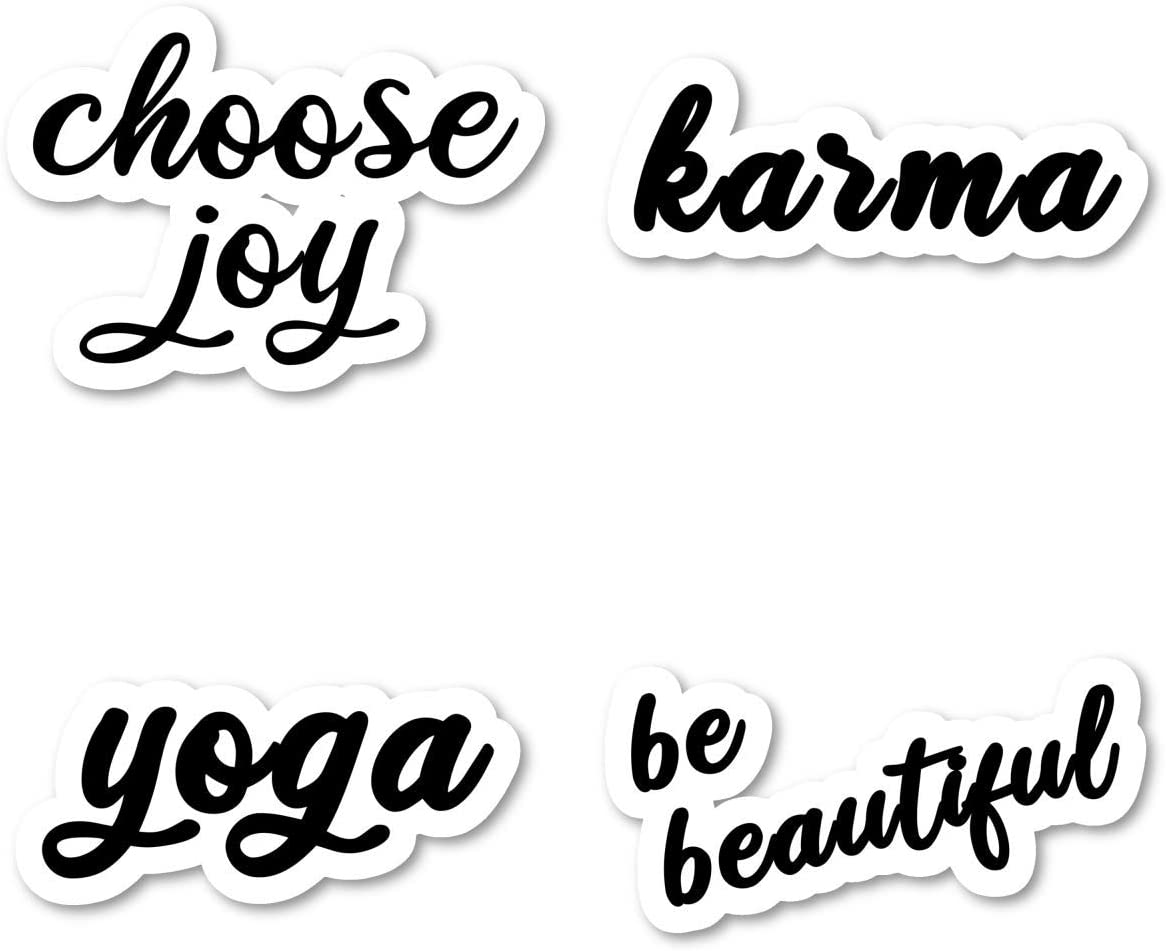 Choose Joy Be Beautiful Karma Yoga Sticker Pack Inspirational Quotes Black Stickers - 4 Pack - Laptop Stickers - for Laptop, Phone, Tablet Vinyl Decal Sticker (4 Pack) S211208