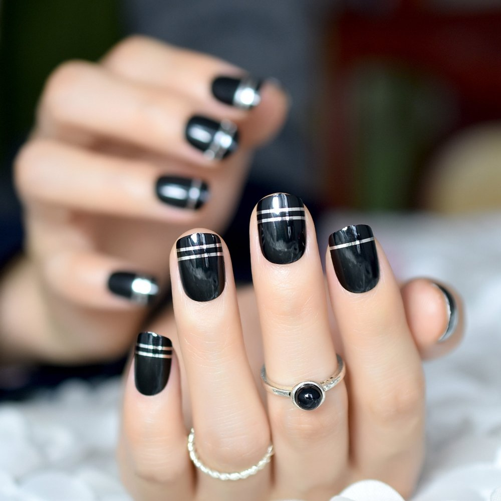 Amazon.com : CoolNail Classic Black French False Nail Tips for Finger Full Cover Short with Silver Line Nail Art Acrylic UV Nails Manicure Tool : Beauty