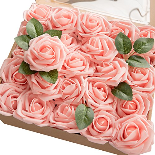 Ling's moment Artificial Flowers 50pcs Real Looking Pink Fake Roses w/Stem for DIY Wedding Bouquets Centerpieces Bridal Shower Party Home Decorations ()