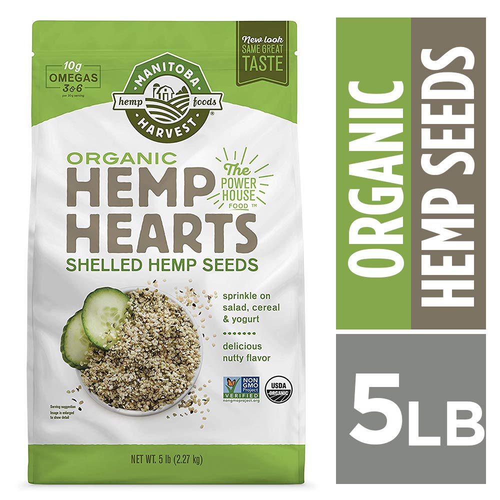 Manitoba Harvest Organic Hemp Hearts Raw Shelled Hemp Seeds, 5lb; with 10g Protein & 12g Omegas per Serving, Non-GMO, Gluten Free by Manitoba Harvest (Image #1)