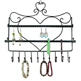 OrangeTag Wall Mount Heart Shape Jewelry Organizer Hanging Earring Holder Necklaces