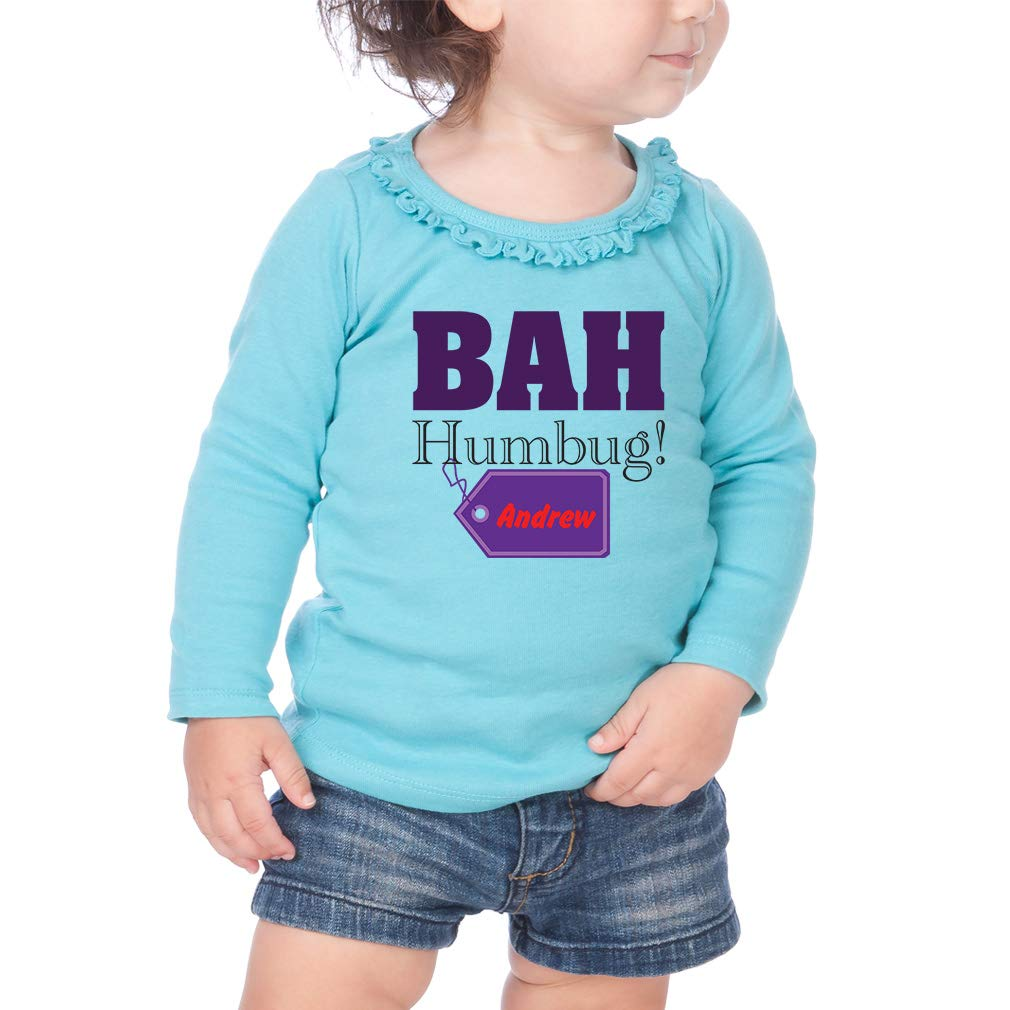Cotton Toddler Long Sleeve Ruffle Shirt Top Personalized Custom Funny Bah