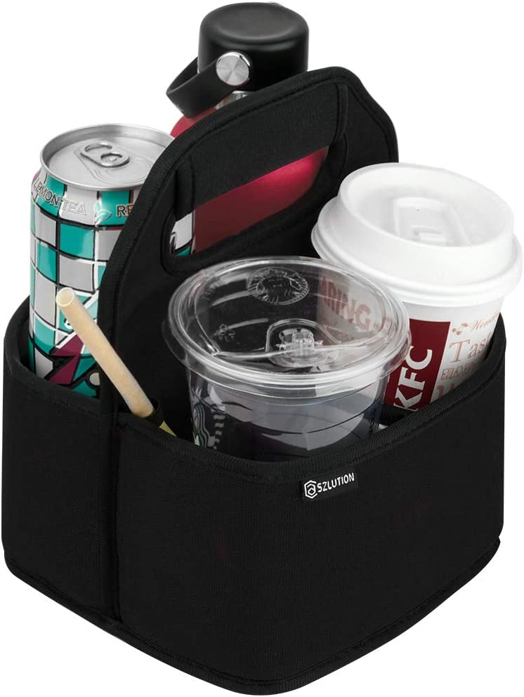 Case Star Drink Carrier Reusable Insulated Coffee Cup Carrier Water Bottle Holder in Car Lightweight Padded Beverage Holder with Adjustable dividers Fits 16-24OZ Coffee Cups, Water Bottle (Black)