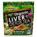 Organic Liver Detox Tea, Feel Great & Boost Your Energy With A Natural Liver Cleanse & Support Supplement. Matcha Green Tea Powder, Milk Thistle, Spirulina, Coconut Water, Ginger, & Cinnamon