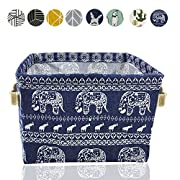 Small Foldable Storage Basket Canvas Fabric Waterproof Organizer Collapsible and Convenient For Nursery Babies Room 100% COTTON with Handle (Elephant)