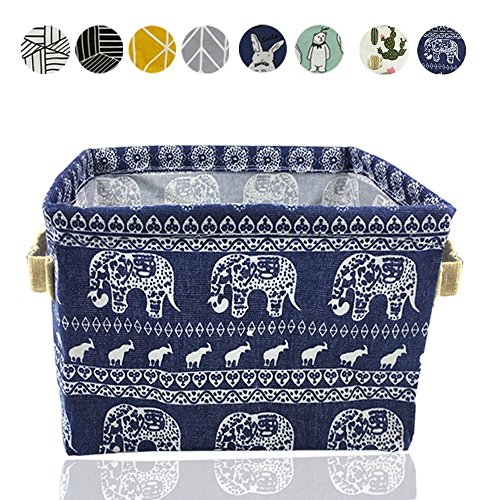Small Foldable Storage Basket Canvas Fabric Waterproof Organizer Collapsible and Convenient for Nursery Babies Room 100% Cotton with Handle (Elephant) -