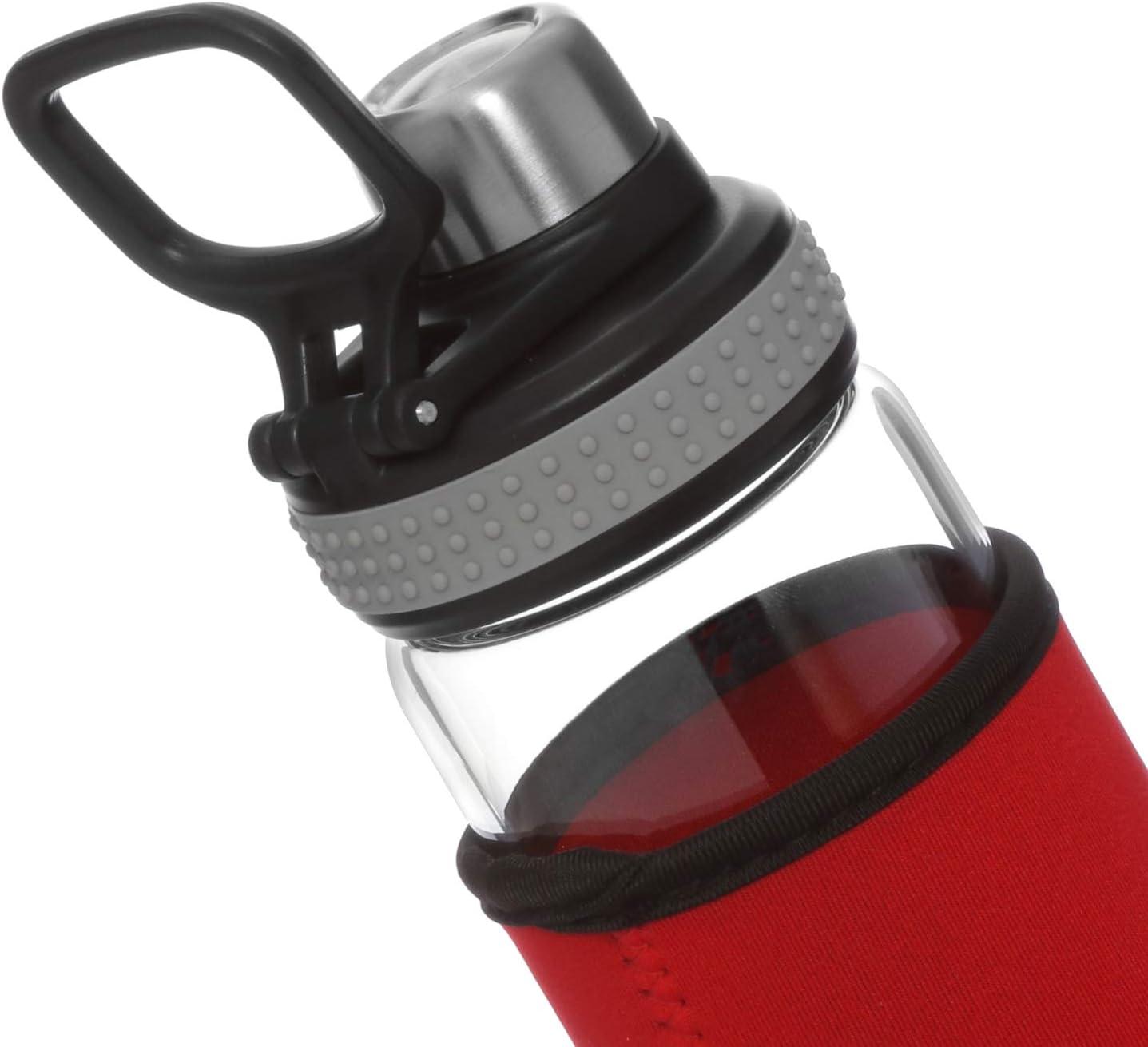 Borraccia con cover rossa in vetro da 550 ml