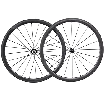 hulk-sports 700 C carbono bicicleta ruta conjunto de ruedas de 38 mm Profundidad 23 mm anchura neumáticos bicicleta ruedas con Hub, Powerway R39: Amazon.es: ...