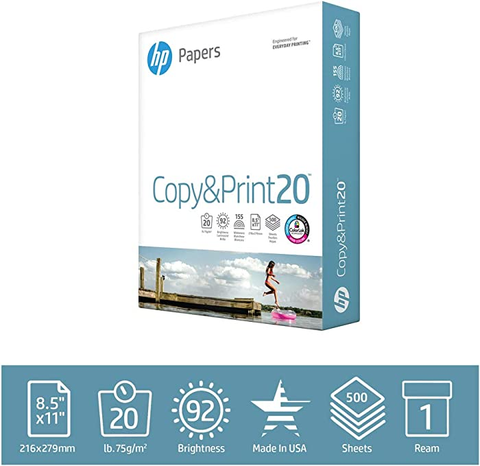 HP Printer Paper Copy&Print 20lb, 8.5 x 11, 1 Ream, 500 Total Sheets, Made in USA From Forest Stewardship Council Certified Resources, 92 Bright, Acid Free, Engineered for HP Compatibility, 200060R