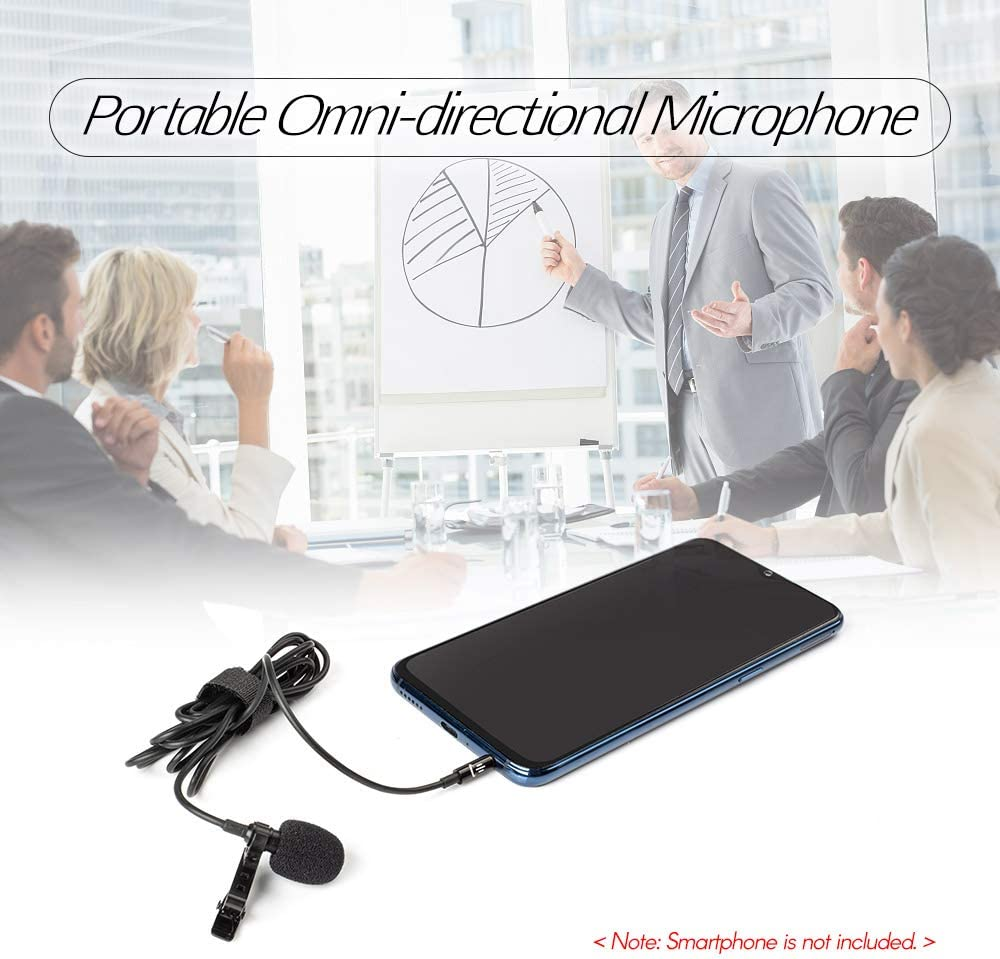 Andoer Lavalier Lapel Portable Clip-on Microphone Mic 3.5mm Audio Plug Length 1.5m Omni-Directional Noise-canceling Mic for Smartphone Camera Computer Laptop for Video Recording Interview Webcast