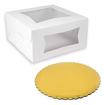 Caja para tarta con ventana y tablero dorado redondo, embalaje de ...