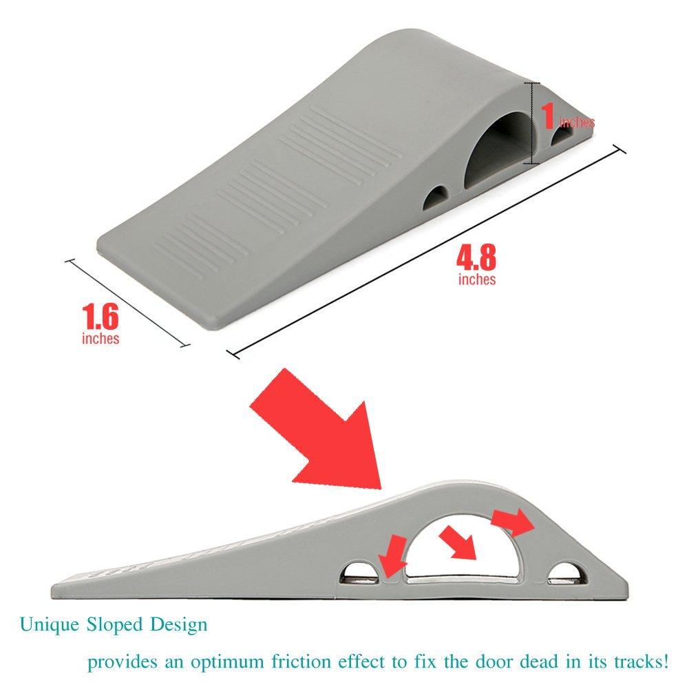 Fixed the Door 3Pcs, Gray Decorative Door Stopper with Free Bonus Holders Rubber Door Stop Works on All Floor Surfaces