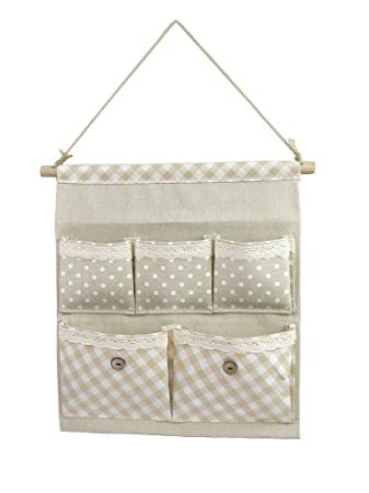 Good Tandi Linen/Cotton Fabric Wall Door Closet Hanging Storage Bag Case 5  Pocket Home Organizer White Polka Dots: Amazon.co.uk: Kitchen U0026 Home