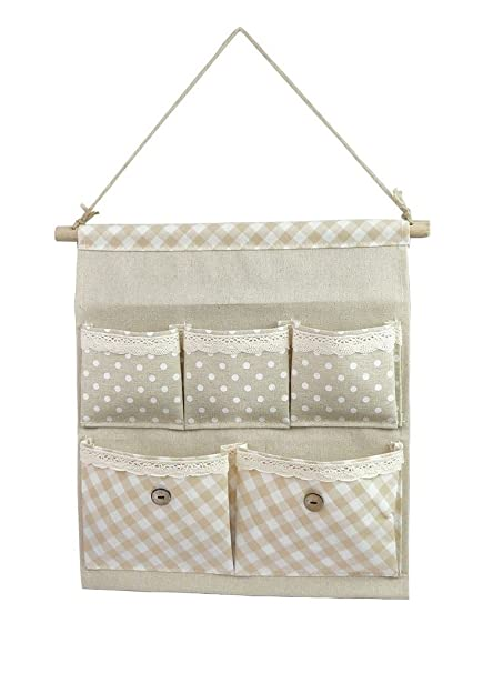 Tandi Linen/Cotton Fabric Wall Door Closet Hanging Storage Bag Case 5  Pocket Home Organizer