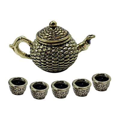 NarutoSak Doll House Accessories,6Pcs/Set 1/12 Scale Miniature Alloy Teapot Cups Tableware Toy Doll House Decor, Doll House Furnishings, Christmas Birthday Gift for Girl Golden: Home & Kitchen
