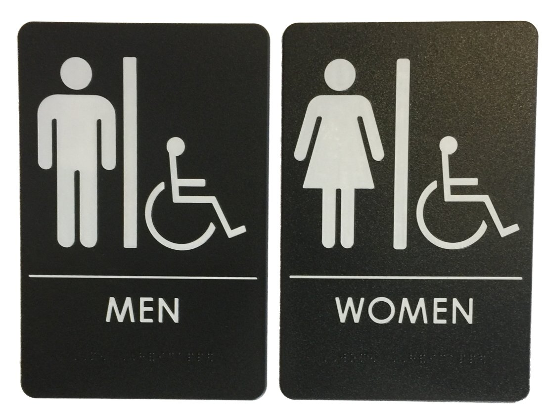 Men/Women Restroom Sign with Wheelchair Black/White - ADA Compliant (Bundle of 2 Signs)