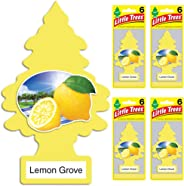 Little Trees Car Air Freshener | Hanging Tree Provides Long Lasting Scent for Auto or Home | Lemon Grove, 6-Packs (4 Count)