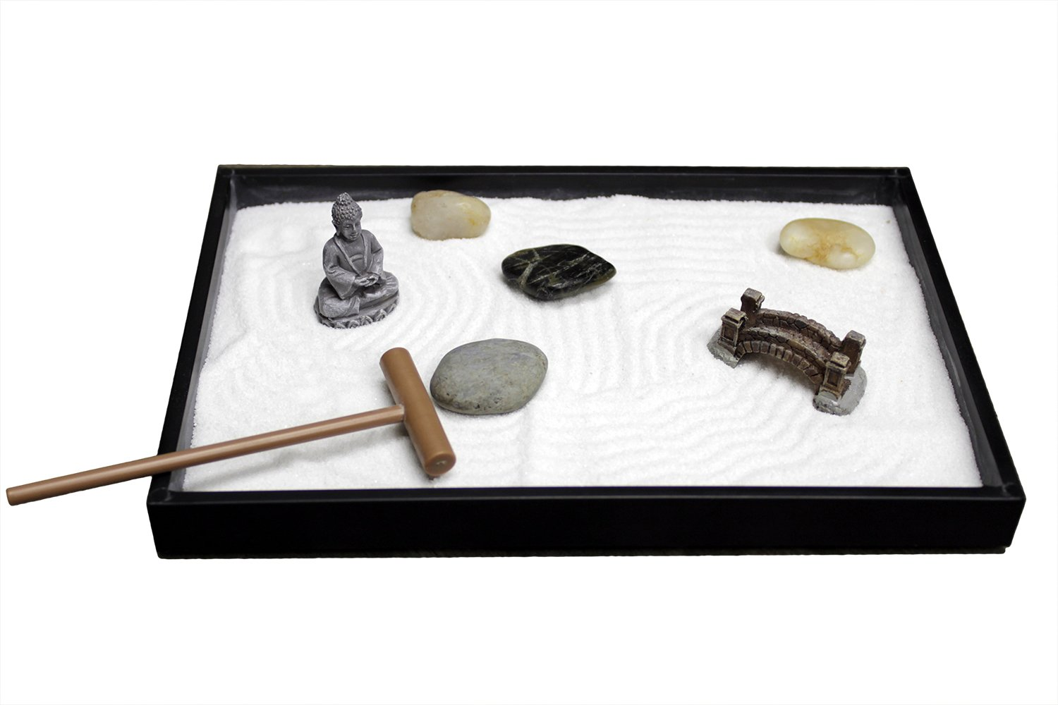 Nature's Mark, Mini Meditation Zen Garden, 8 X 5 inches with Figures and Natural River Rocks