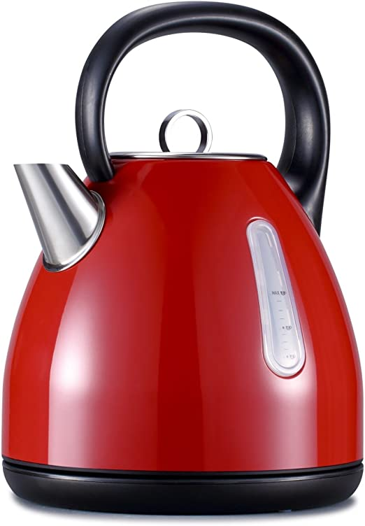 Silver Avan-Pacific ETL 1500Watts Stainless Steel 360/°Cordless Electric Kettle Water Boiler Otter Thermostat Control 1.7 Liter 8 Cups Automatically Shut-Off with Boil Dry Protection