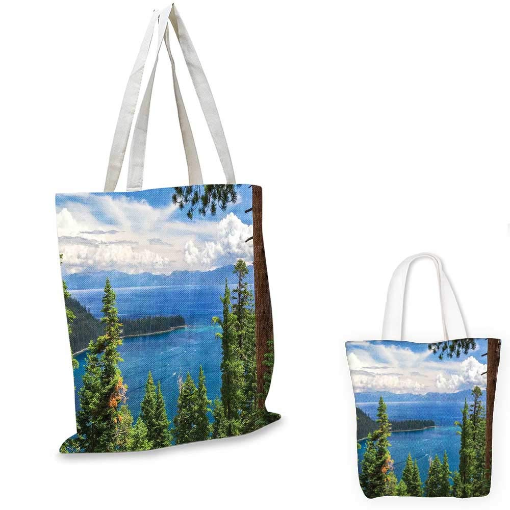 16x18-13 Landscape canvas messenger bag Aerial Image of Majestic Asian Lake above Trees and Mountain in the Horizon canvas beach bag Green Blue White