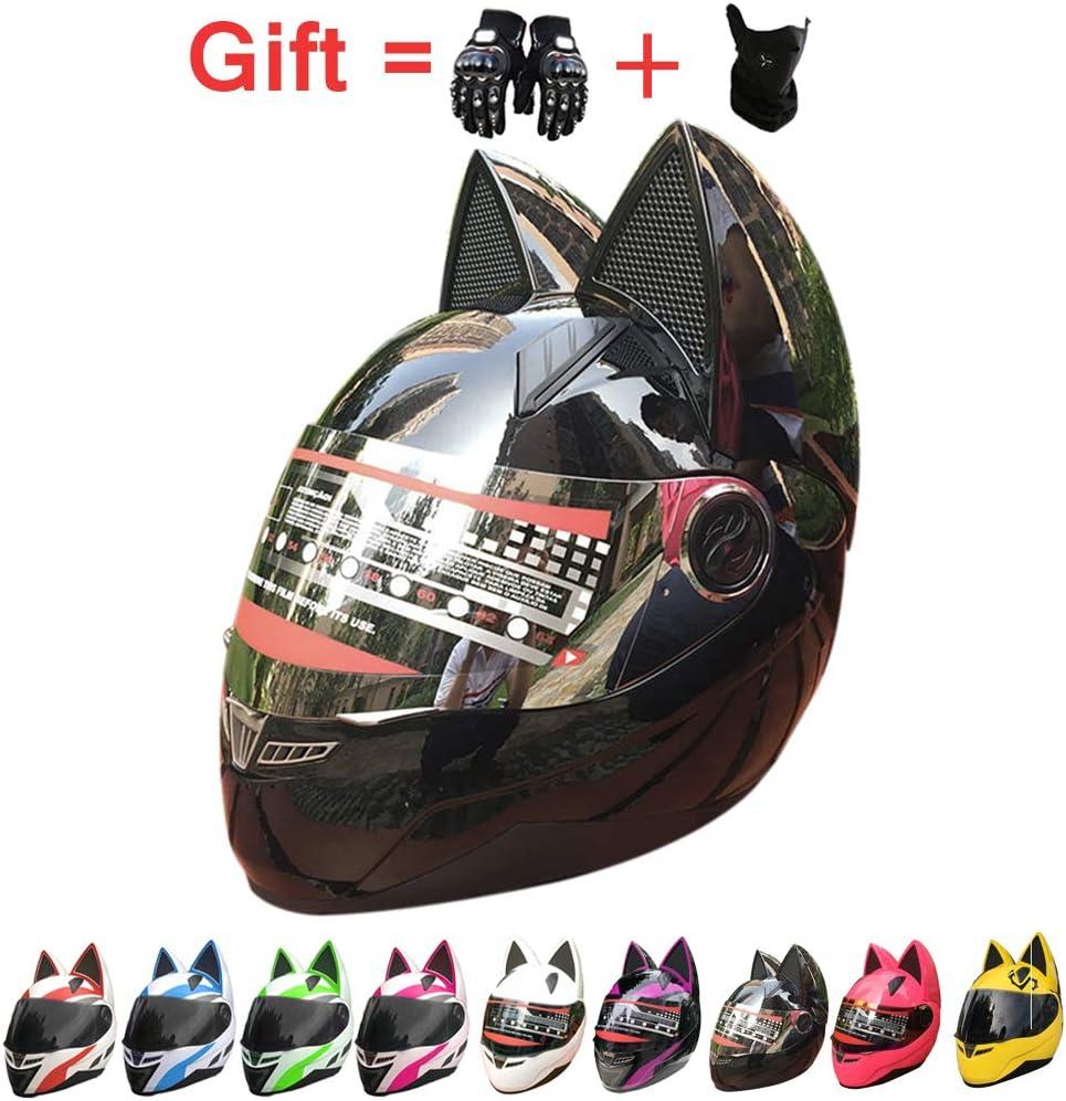 Adulti Casco del Motociclo con Lorecchio del Gatto ECE//DOT Approvato,Cat Ears Helmet,6,M53~55cm Creativo Horn off Road Motocross Casco per Uomini E Donne ZJRA Orecchie di Gatto del Casco