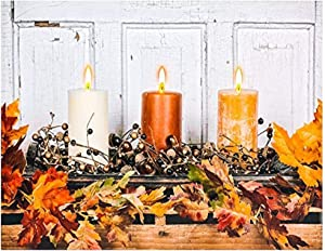 OSW 23.6 x 15.6 Fall 3 Candles Canvas Art LED Candles Light up Wall Decor