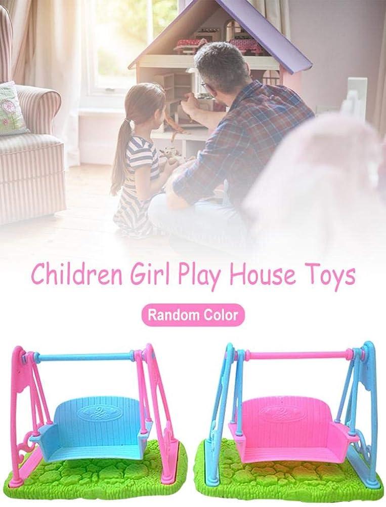 Mini Puppe M/ädchen Spielzeug Puppenhaus M/öbel Kinder Schaukel Wiege Bett F/ür Puppe Zubeh/ör Miniatur Garten Spielplatz Schaukel didatecar Puppenschaukel