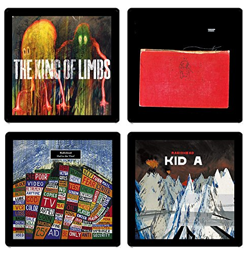 Radiohead - Collectible Coaster Gift Set #1 ~ (4) Different Album Covers Reproduced on Soft Pliable - Cover Album Rock