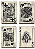 IMAKEHOME Vintage Style Leonato Playing Card Art Print Poker Game Room Decoration Man Cave Decor Casino Wall Art Printing, 100% Cotton Canvas, Unframed, Set of 4 (4, Each 40x60cm)